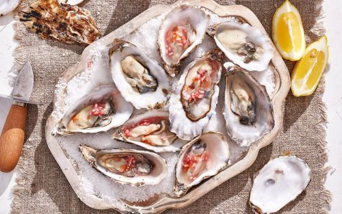 Oysters with red wine vinegar and shallots recipe