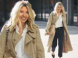 Mollie King looks classically chic in a beige trench coat as she arrives for her Radio 1 show