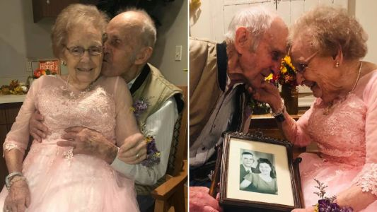 Dementia sufferer's face lights up as she sees husband on their 72nd wedding anniversary