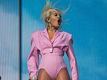 Rita Ora sizzles in a pink bodysuit and fishnet tights as she performs at Radio 1's Big Weekend