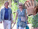 Anthea Turner sports new addition to her wedding finger for shopping with fiancé Mark Armstrong, 55