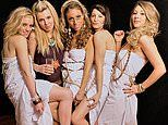 Pictured: Carrie Symonds and student friends drink wine at uni toga party