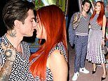Bella Thorne and fiancé Benjamin Mascolo pack on the PDA at the Versace show
