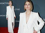 Rosamund Pike wore a structured white gown as she walked the red carpet for Radioactive's premiere