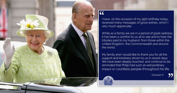 Grieving Queen sends 95th birthday message to nation thanking people for support