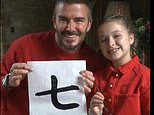 David Beckham shows off his Chinese calligraphy skills with Harper