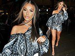 Chelsee Healey dresses up a designer sports jacket and shorts co-ord with heels