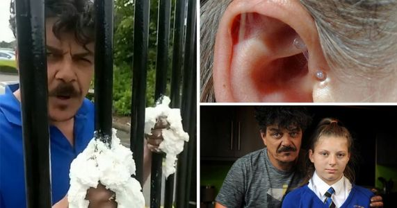 Dad of girl 'excluded' for ear piercing that 'stops migraines' glues himself to school