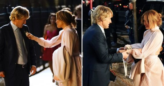 Jennifer Lopez and Owen Wilson dressed up to the nines as they film for Marry Me