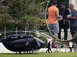 Paris Saint-Germain star Neymar arrives in style by helicopter as he links up with Brazil squad