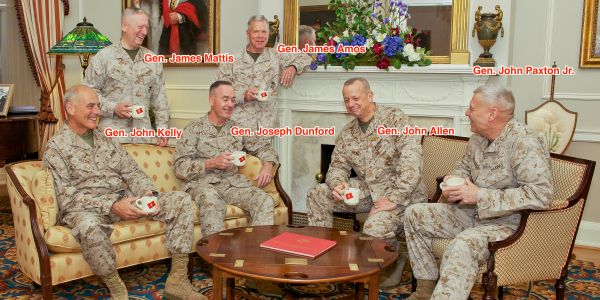 One striking image shows the Marine Corps generals who left the Trump administration, after the president praised their service