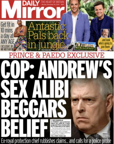 Election - what election? Prince Andrew's interview leads the newspapers for a third consecutive day