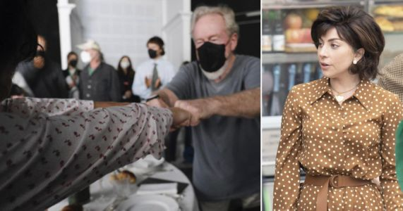 Lady Gaga fist bumps director Ridley Scott as they wrap filming on House of Gucci