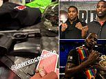 Boxer Lawrence Okolie filmed sat with a gun in front of him on a table after partying with friends