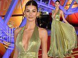 Camila Morrone dazzles in a plunging gold gown at the Marrakech International Film Festival