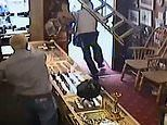 Jewellery shop owner uses ladder to protect his employees from violent robber who broke his nose