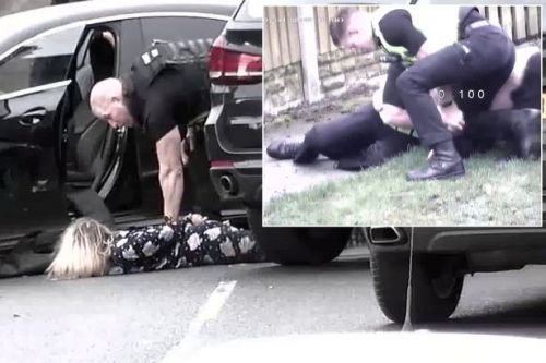 Man thrown to the ground by policeman after refusing to stop filming arrest