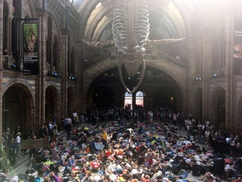 Extinction Rebellion - Hundreds of eco-warriors take over Natural History Museum bringing chaos to Easter families with 'die-in' protest
