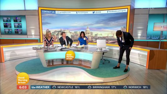 New dad Joe Swash shows up to Good Morning Britain in VERY short trousers as fatherhood takes its toll on him