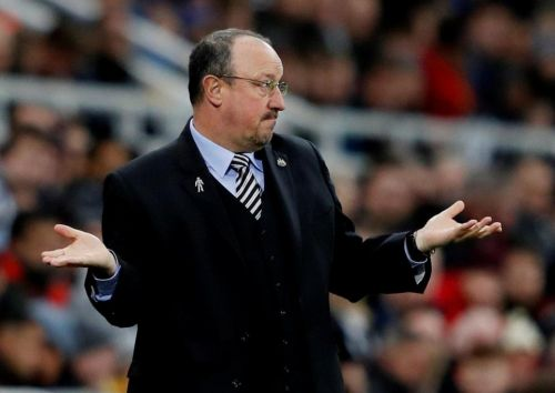 Newcastle boss Rafa Benitez makes VAR sign after DeAndre Yedlin is sent off against Wolves