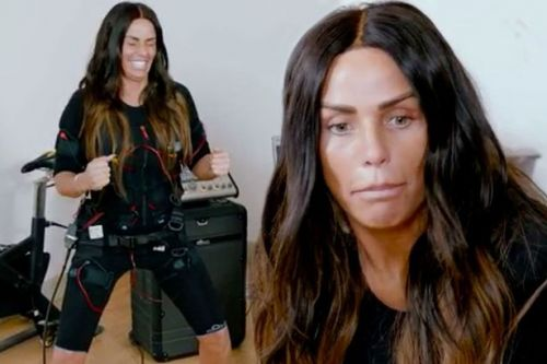 Katie Price WEES on floor in front of personal trainer as she gets electric shock workout
