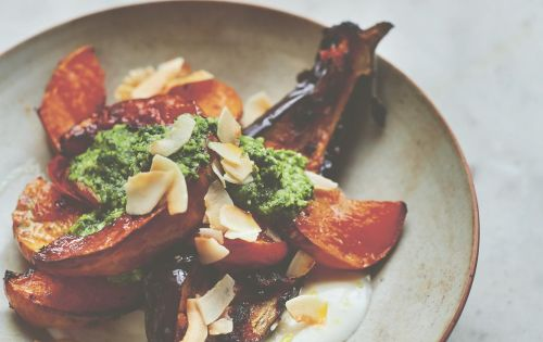 Roast spiced pumpkin, aubergines and tomatoes with green chutney recipe