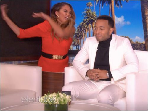 Chrissy Teigen jumped out and scared her husband John Legend while he was guest hosting on 'Ellen'