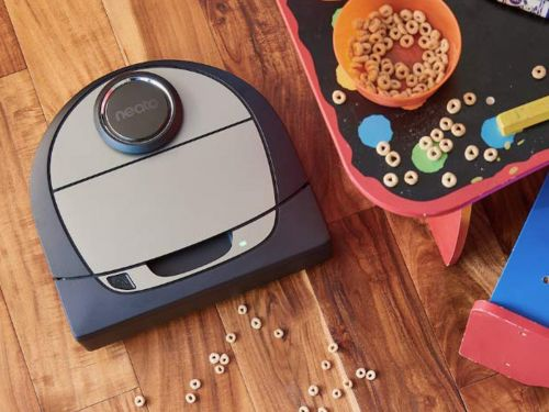 This robot vacuum easily cleaned my carpet, and coffee grounds, kitty litter, and flour from my hardwood floors