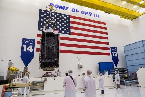 GPS satellite ready for installation on Falcon 9 rocket for launch next week