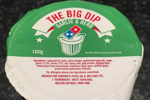 Domino's Pizza fans reeling over truth about calories in garlic and herb dip