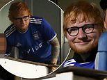 Ed Sheeran looks delighted while supporting Ipswich Town as the team beat AFC Wimbledon