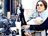 Rachel Weisz bundles up with big scarf while she steps out with three-month-old daughter