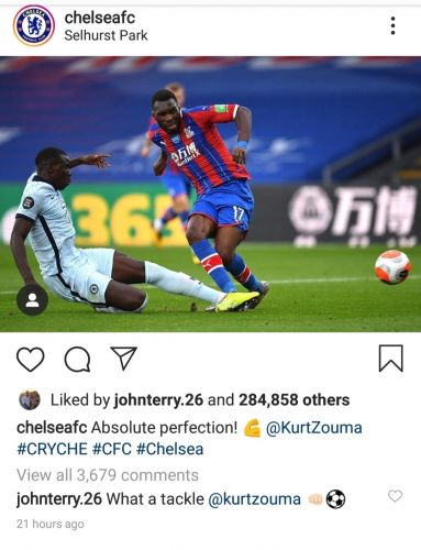 John Terry reacts to Zouma's last-ditch tackle against Crystal Palace