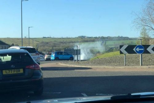 Car bursts into flames in busy residential street in Falkirk