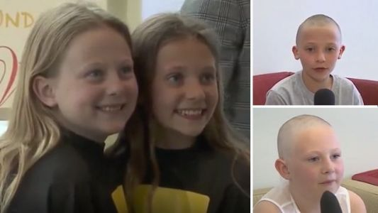 Two 10 year-old girls shave off their long hair and donate it to kids' wig charity