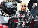 Holly Willoughby is forced to park her car disabled parking space after suffering a flat tyre
