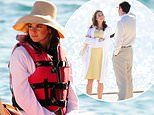 Shailene Woodley dons a sun hat and life vest as she shoots The Last Letter From Your Lover
