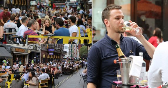 Crowds pack bars and beer gardens on day of soaring temperatures
