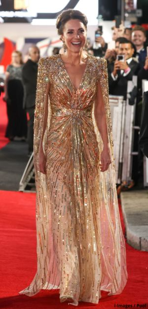A Bond Girl dressed to the nines - the Duchess of Cambridge single-handedly brings back the glamour of royal movie premieres