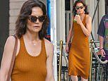 Katie Holmes goes braless to grab a smoothie with a pal in New York City