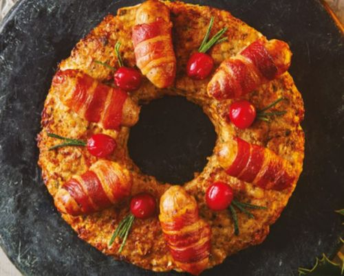Sainsbury's Christmas food range includes a pigs-in-blankets wreath