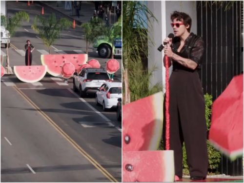 Harry Styles and James Corden performed a concert with dancers and pyrotechnics on a crosswalk in the middle of LA traffic