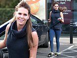 Danielle Lloyd keeps it casual in blue sweater and fluffy slippers