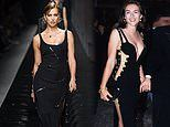 Irina Shayk channels Liz Hurley's 1994 safety pin dress for Versace's Milan Fashion Week show