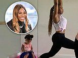 Serena Williams jokes as her daughter is occupied by a tablet while she works out