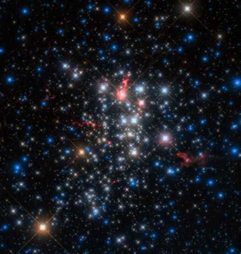Comet-like tails seen stretching away from massive young stars