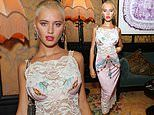 Iris Law flaunts her assets in a lace midi dress at Perfect Magazine party at London Fashion Week