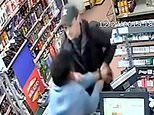 Moment brave shopkeeper grabs handgun from armed robber as he's jailed for more than two years