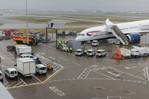 British Airways plane collapses at Heathrow Airport as nose topples onto tarmac