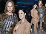 Rachel Brosnahan flashes sideboob in a plunging suit to join Tommy Dorfman at Golden Heart Awards